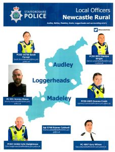 Local Police Officers in Newcastle Rural Loggerheads Parish Council Area