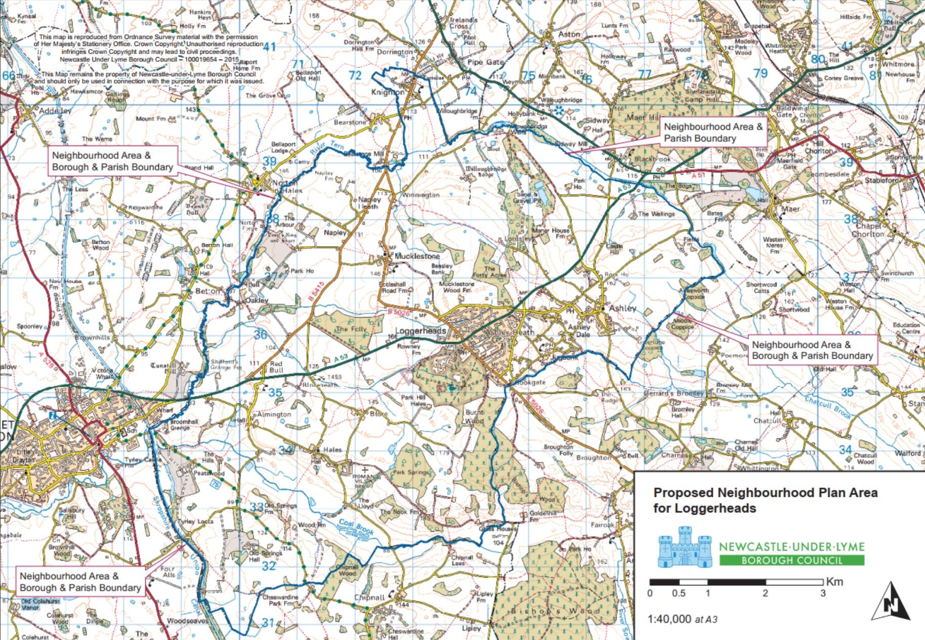 Map of Loggerheads Parish Staffordshire